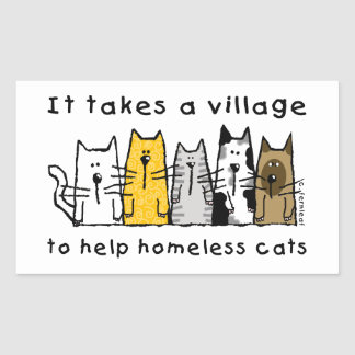 Toma a desamparados de la ayuda del pueblo gatos pegatina rectangular