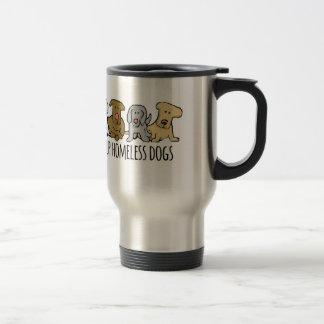 Toma a desamparados de la ayuda del pueblo perros taza de café