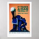 Toma a un hombre para llenar un uniforme - marina  poster