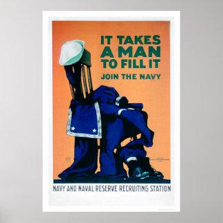 Toma a un hombre para llenar un uniforme - marina  póster