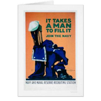 Toma a un hombre para llenar un uniforme - marina tarjeta de felicitación