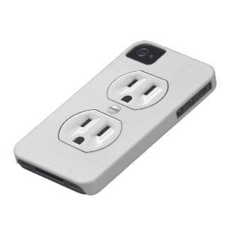 Toma de corriente divertida iPhone 4 Case-Mate protectores