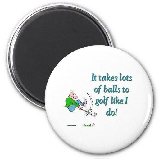 Toma muchas bolas para golf como hago imán para frigorífico