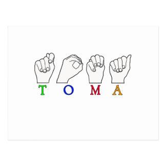 TOMA NAME FINGERSPELLED ASL SIGN POSTCARD