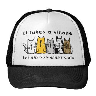 Toma un pueblo para ayudar a gatos sin hogar gorras