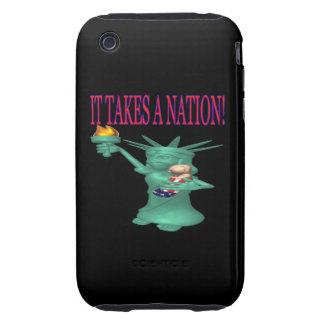 Toma una nación tough iPhone 3 cárcasa