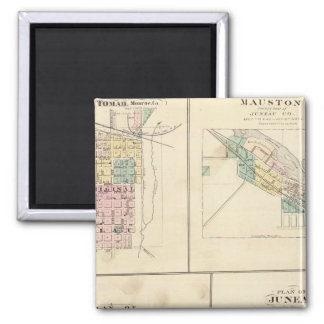Tomah, Mauston, Fox Lake and Juneau 2 Inch Square Magnet
