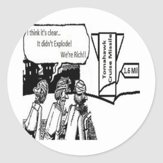 Tomahawk Cruise Missile: 1.6 Mil. Political Comic Classic Round Sticker