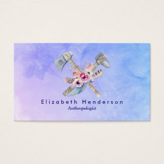 Tomahawk Feathers and Flowers Watercolor Design Business Card
