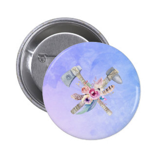 Tomahawk Feathers and Flowers Watercolor Design Button