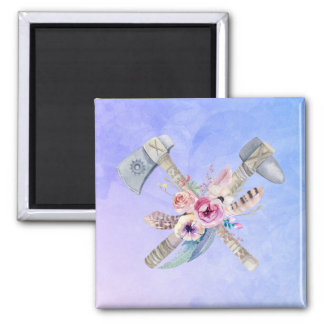 Tomahawk Feathers and Flowers Watercolor Design Magnet
