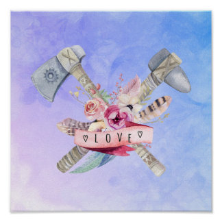 Tomahawk Hammer and Flowers Watercolor Design Poster