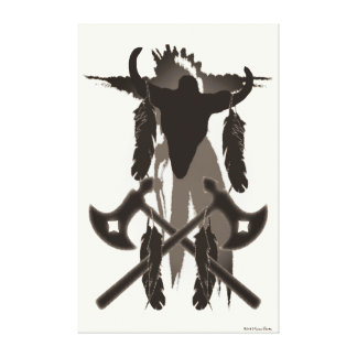 Tomahawks and Buffalo Skull Canvas Print