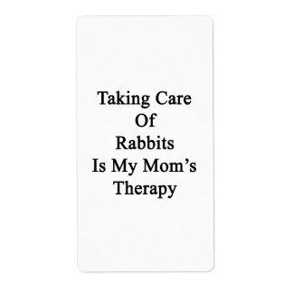 Tomar el cuidado de conejos es la terapia de mi etiqueta de envío