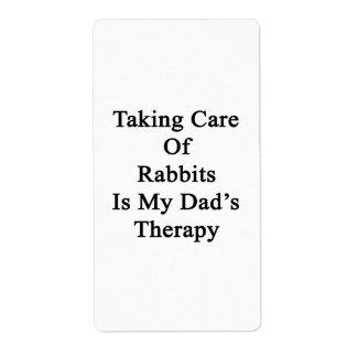 Tomar el cuidado de conejos es la terapia de mi etiquetas de envío