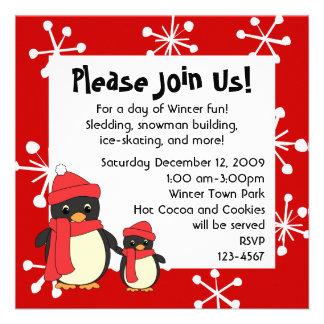 Tomar el pequeño pingüino para un paseo invitación personalizada
