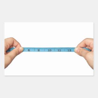Tomar la medida pegatina rectangular