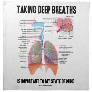 Tomar las respiraciones profundas es importante servilletas imprimidas