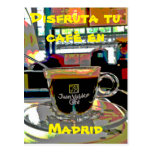 Tomar un café en Madrid España Tarjeta Postal