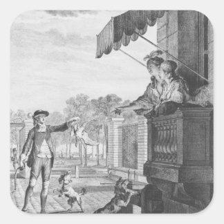 Tomar una apuesta, grabada por Camligue c.1777 Pegatina Cuadrada