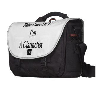 Tomaré el cuidado de él que soy Clarinetist Bolsas De Ordenador