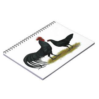 Tomaru Long Crower Chickens Spiral Notebook