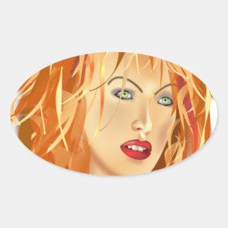 tomas_arad_portre beauty SALON HAIRSTYLES RED BLON Oval Sticker