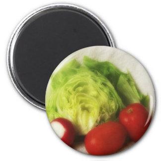 Tomate 2 del rábano de la lechuga imán redondo 5 cm