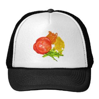 Tomate apilado con pimientas cortadas gorra