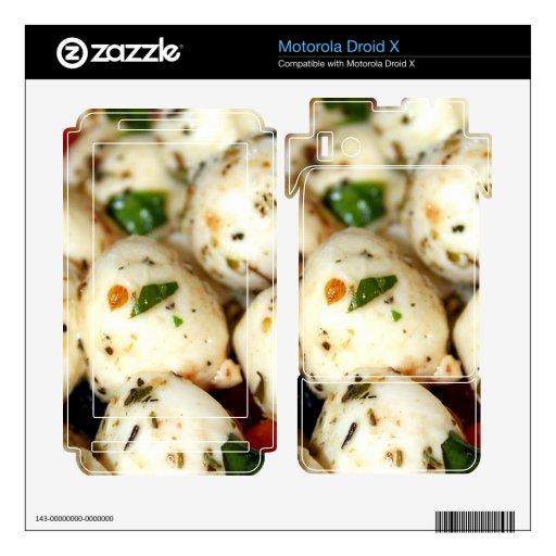 Tomate de cereza y ensalada de la mozzarella motorola droid x calcomanías
