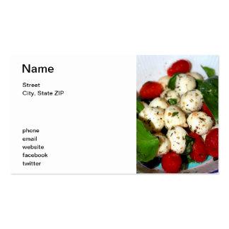 Tomate de cereza y ensalada de la mozzarella tarjetas de visita