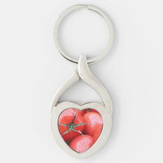 tomate llavero plateado en forma de corazón