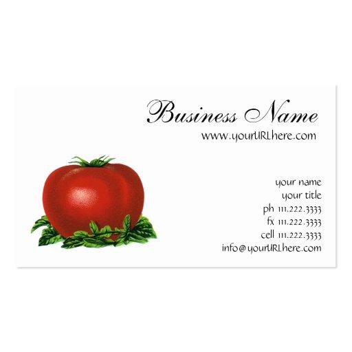 Tomate maduro rojo del vintage, legumbres de fruta tarjetas de visita
