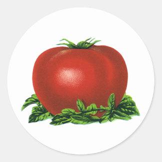 Tomate maduro rojo del vintage, legumbres de pegatina redonda