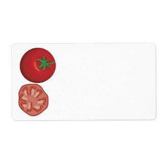 tomate rojo realista etiqueta de envío