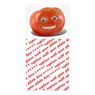 Tomate sonriente de la cara feliz plantilla para tarjeta de foto