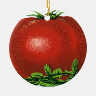 Tomate, verduras y frutas maduros rojos del adorno navideño redondo de cerámica