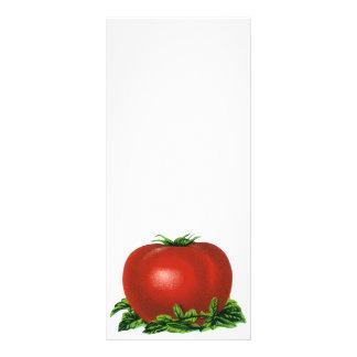 Tomate, verduras y frutas maduros rojos del diseño de tarjeta publicitaria