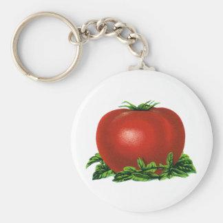 Tomate, verduras y frutas maduros rojos del llavero redondo tipo pin