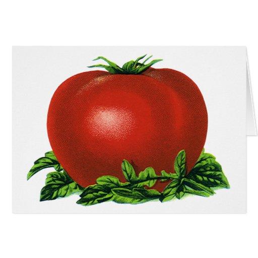 Tomate, verduras y frutas maduros rojos del tarjeta de felicitación
