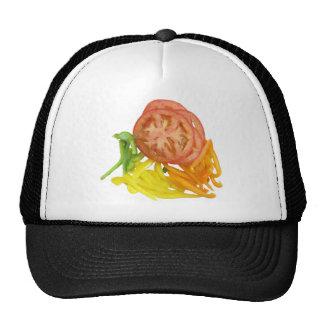 tomate y pimientas cortados gorras de camionero