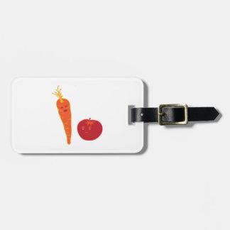 Tomate y zanahoria etiquetas maleta