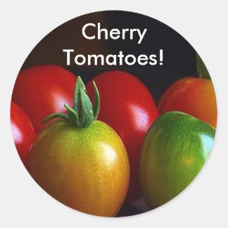 Tomates de cereza pegatina redonda