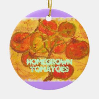tomates de cosecha propia adorno navideño redondo de cerámica