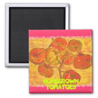 tomates de cosecha propia imán cuadrado