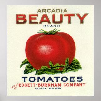 Tomates de la belleza de la Arcadia etiqueta del Poster