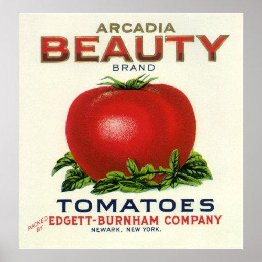 Tomates de la belleza de la Arcadia, etiqueta del  Poster