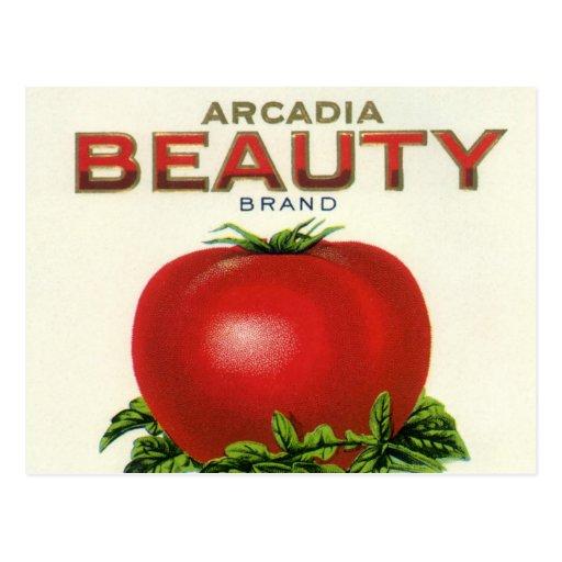 Tomates de la belleza de la Arcadia, etiqueta del  Postales