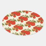 Tomates del vintage pegatina ovalada