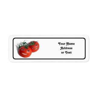 Tomates dulces etiqueta de remitente